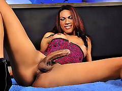 This is Mylla's first time shooting with us and I am sure after watching this magificent tgirl you'll be asking for more. She has stunning exotic features, a monsterous cock and shoots huge loads. Wat from TS Dolls