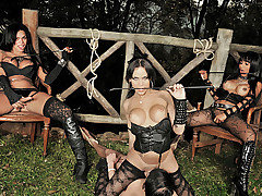 Three evil shemale dommes have their submissive boytoy tied up to a fence making him do everything they command. These three dommes take turns slapping him around, fucking his mouth and ass until they from Shemale Punishers