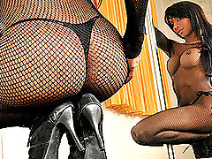 Now this is one well hung motherfucking tranny!  Her name is Ariadny Oliver, and she is tall, voluptuous and loaded where it counts!  In this video she wears a full length fishnet bodystocking that is from Tranny Auditions