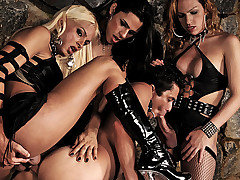 The Mistresses of pain, Alessandra, Dany, and Yasmin, are at it again.  These horny Goddesses love pony boys and they soon have this young stud over a barrel where they ride his tight ass as he opens from Shemale Punishers