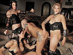 Today's episode starts off the right way, one straight guy captured and bound. He is waiting helplessly for his shemale mistresses to come in and use him at will and use him they do. Watch this trio o from Shemale Punishers