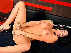 Busty phat ass shemale Aline Tavares is horny and in solo action today. Watch this shemale beauty show off her feminine curves and stroke her hard cock until it explodes from joy. This is Aline's firs from TS Dolls