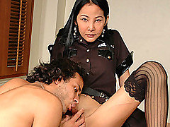 Oh is a hot tranny cop who's just arrested  James Mattarazzo. His punishment? He'll have to reach under Oh's skirt, feel around her panties for her cock and suck it! Officer Oh runs her fingers throug from Asian Tranny Police
