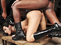 This brand new police woman Bruna gets a suprise as her two inmates escape her grasp and come back to give her a taste of her own medicine. They tie her up quickly and strip the bitch until they can b from Tranny Edge