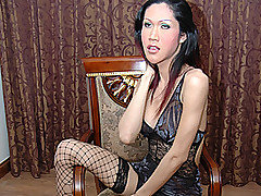 Busty, big cock Asian transsexual Lek is the kind of girl that most red blooded males would gladly pay money for!  She's got a perfect body along with that classic long black Asian hair; her huge fake from Ladyboy Juice