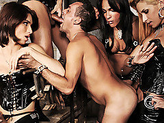 Nasty Mistresses Adriana, Alana, Jo and Samantha take turns breaking in this uncut submissive male. They feed him cocks until he gags, they split his tight ass with instruments and rockhard cock. This from Shemale Punishers