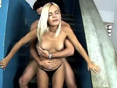 Blonde shemale seduces latino guy from sexmv.com