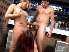 Hot shemale sucked by guys in group from sexmv.com