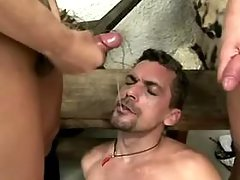 shemale cumshot from Tranny Sandwich