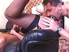Guys spoil redhead shemale on sofa from shemalehotties.com