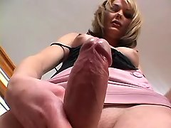Yummy shemale plays with huge cock from shemalehotties.com
