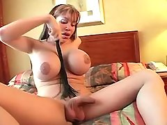 Busty shemale plays w cock and cums from shemalehotties.com