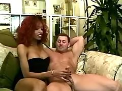Redhead ebony tranny sucks big cock from shemalehotties.com