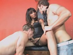 Gorgeous shemale sucked by two guys from shemalehotties.com