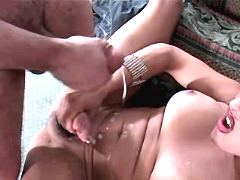 Tgirl and guy fuck n jizz together from theshemaleporn.com