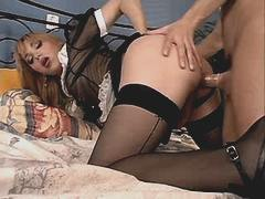 Tranny sucks n fucks in doggy style from theshemaleporn.com