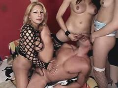 Three shemales fuck guy in hot orgy from theshemaleporn.com