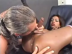 Grizzled man fucks hot ebony tranny from thebestshemales.com