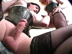Two shemales suck cocks each other from thebestshemales.com
