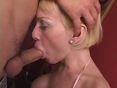 Blond shemale n guy suck each other from thebestshemales.com