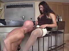 TS n guy suck each other in kitchen from thebestshemales.com