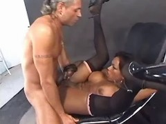Grizzled man fucks hot black tranny from thebestshemales.com