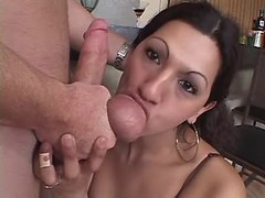 Tranny gets and gives BJ in kitchen from thebestshemales.com
