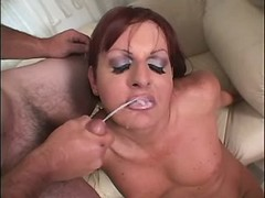 Tranny catches cumshot in oral orgy from thebestshemales.com