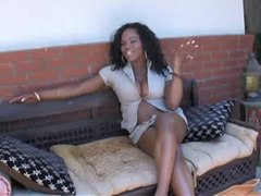 Black shemale poses and masturbate from thebestshemales.com