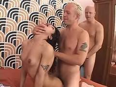 Two harsh dudes fuck tranny in orgy from thebestshemales.com