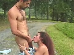 Shemale sucks strong cock in nature from freetrannyxxx.com