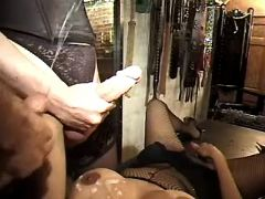 Lusty shemale and guy jizz on slave from freetrannyxxx.com
