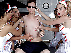 Six Insanely Hot Tranny Nurses Gangbang Patient! from Tranny Gangbanged