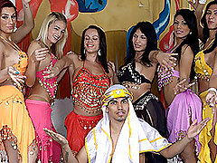 Six Gorgeous Belly Dancing Trannies VS. One Lucky Guy! from Tranny Gangbanged