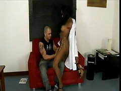 Tasty ebony tgirl loves the man cock in office
