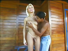 Gorgeous blonde tranny fucks her muscle bound lawn man